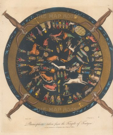 """A depiction of an Ancient Egyptian planisphere from the ceiling of the Temple of Hathor at Dendera. Characterised as """"the only complete map that we have of an ancient sky""""."""