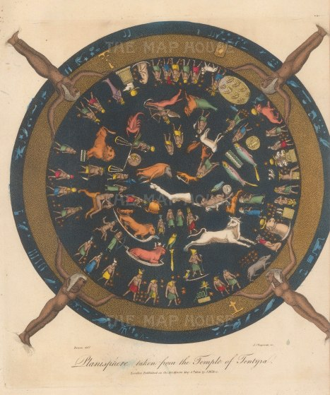 A depiction of an Ancient Egyptian planisphere from the ceiling of the Temple of Hathor at Dendera, renowned as the only complete map of the ancient sky.