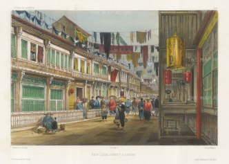 New-China Street: Lively street scene with lanterns in the foreground. After Barthélemy Lauvergne, one of the artists on the voyage of La Bonite, 1836-7.