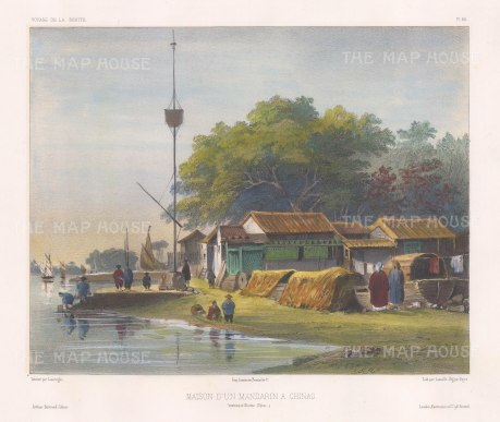 Mandarin's house: On the banks of a river near Canton. After Barthélemy Lauvergne, one of the artists on the voyage of La Bonite, 1836-7.
