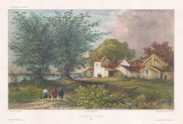 Pearl River: View of a village after Barthélemy Lauvergne, one of the artists on the voyage of La Bonite, 1836-1837.