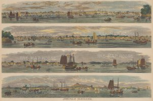 Canton (Guangzhou) and the Pearl River: Four views of the river and city.
