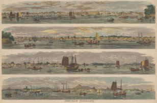 Canton and the Pearl River: Four views of the river and city.