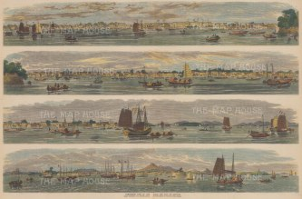 "Illustrated Times: Guangzhou (Canton). 1857. A hand coloured original antique wood engraving. 20"" x 13"". [CHNp1053]"