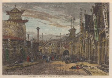 "Illustrated London News: Beijing (Peking). 1866. A hand coloured original antique wood engraving. 13"" x 9"". [CHNp1082]"