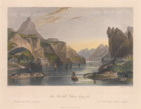 "Wright: Hea Hills, Chaou-king-foo. 1847. A hand coloured original antique steel engraving. 9"" x 7"". [CHNp1090]"