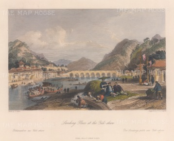 "Wright: Yuk-shan. 1843. A hand coloured original antique steel engraving. 9"" x 7"". [CHNp1092]"