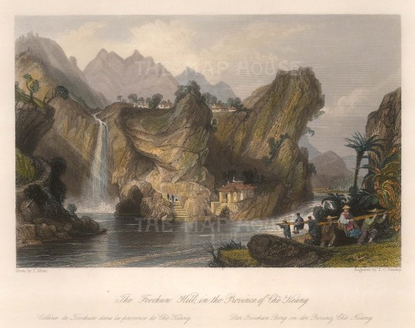"Wright: Foochun Hill, Che Keang province. 1843. A hand coloured original antique steel engraving. 9"" x 7"". [CHNp1094]"