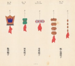 Chinese Pictorial Signs: Decorative signs for Grains, Rice and Cakes, highlighted with Gold.
