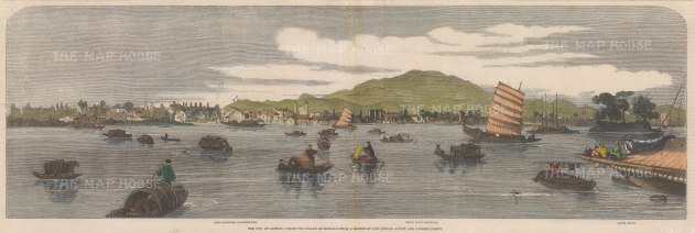 "Illustrated London News: Guangzhou (Canton). 1858. A hand coloured original antique wood engraving. 21"" x 7"". [CHNp912]"
