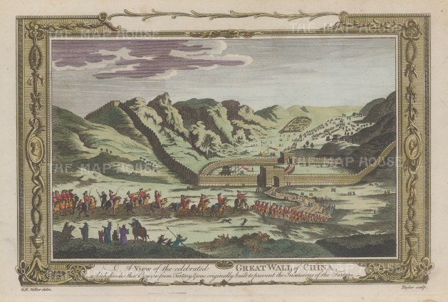 "Millar: Great Wall of China. c1770. A hand coloured original antique copper engraving. 12"" x 9"". [CHNp922]"