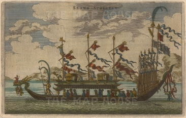 "Nieuhoff: Dragon Boat. c1660. A hand coloured original antique copper engraving. 7"" x 4"". [CHNp931]"