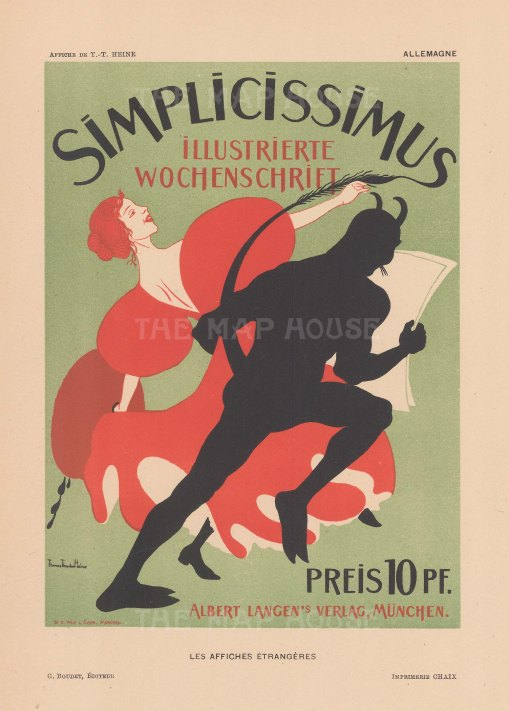 Simplicissimus: Cover for the satirical German weekly. After Thomas Theodore Heine.
