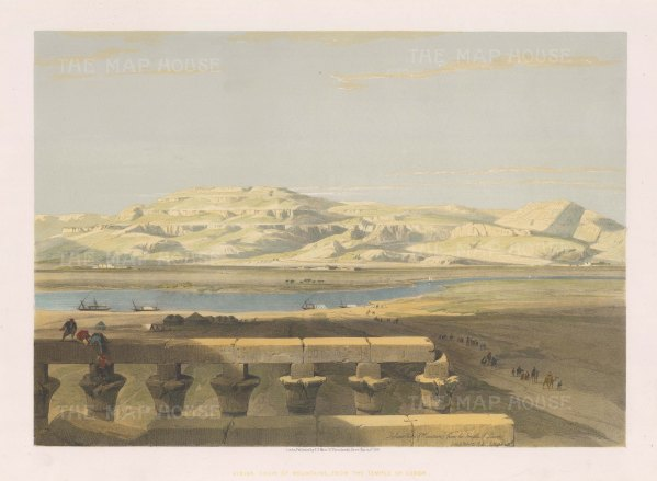 Panorama of the Lybian Mountains (Eastern Desert range) from the Temple of Luxor.