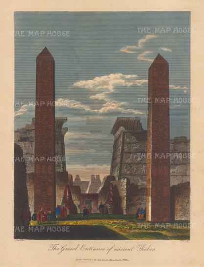 Grand entrance to Thebes: After Vivant Denon, engraved by John Pass.