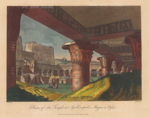 Edfu (Apollinopolis Magna): View from within the temple portico. After Vivant Denon, engraved by John Pass.