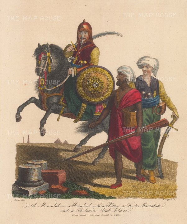 Portraits: Mamaluke cavalryman with infantry soldier and Bedouin Arab soldier.