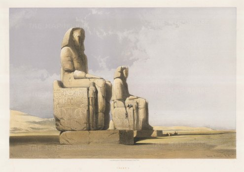 Colossi of Memnon: Erected in c1350 BC, the northern statue depicts Amenhotep III with his mother Mutemwia and the southern, the pharaoh with his wife Tiy.