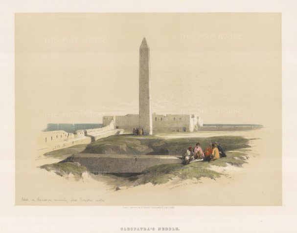 "Roberts: Cleopatra's Needle, Alexandria. 1846. A hand coloured original antique lithograph. 17"" x 13"". [EGYp711]"
