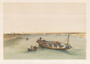 Slave Boat on the Nile. Looking towards the Pyramids of Dashour and Saccara.