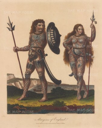 Britons (Aborigines of England): Couple armed, tattooed and painted with woad.