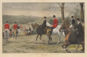 Favourite Covert and a Sure Find. Hunting party galloping through fields.