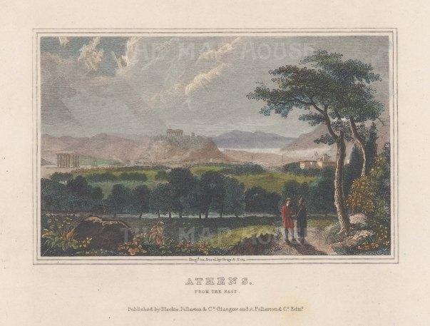 "Fullarton & Co.: Athens. c1845. A hand coloured original antique steel engraving. 6"" x 4"". [GRCp903]"