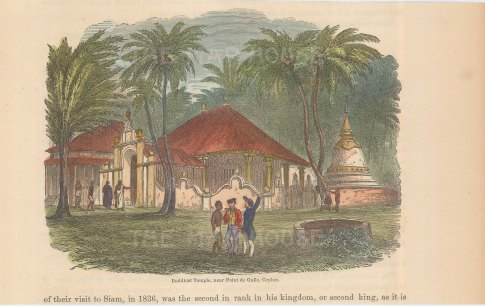 Point de Galle. Buddhist Temple. Three figures by well in front of temple.