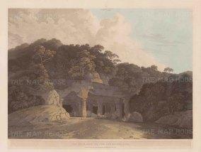 "Daniell: Elephanta Caves, Gharapuri Island. 1800. An original colour antique aquatint. 25"" x 19"". [INDp1295]"