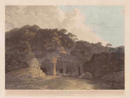 Elephanta Caves: Entrance to the caves at Gharapuri island in the harbour of Bombay.