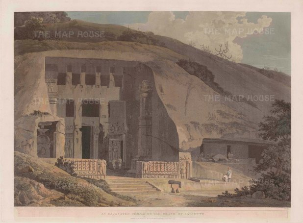 "Daniell: Kanheri Caves at Salsette. 1799. An original colour antique aquatint. 25"" x 19"". [INDp1301]"