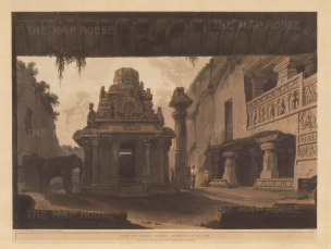 "Daniell: Indra Sabha Jain Temple. 1803. An original colour antique aquatint. 25"" x 19"". [INDp1317]"