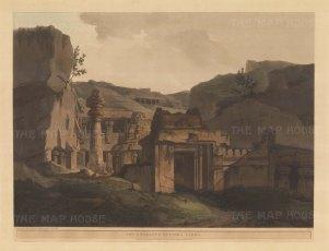 Maharashtra: Indra Sabha Jain Temple. The entrance at the Ellora caves.