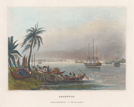 "Meyer: Calcutta. c1840. A hand coloured original antique steel engraving. 6"" x 4"". [INDp1332]"