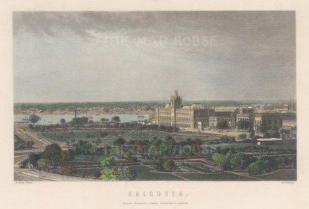 "Frith: Calcutta. c1860. A hand coloured original antique steel engraving. 8"" x 6"". [INDp1375]"