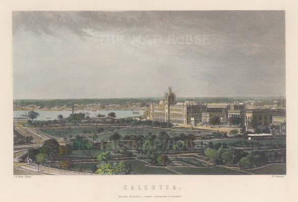 Calcutta: Panoramic view from the environs looking towards the High Court.