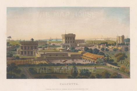 Calcutta: Panoramic view towards the Hooghly River.
