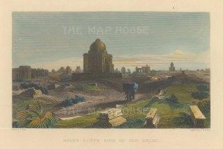 "Elliot: Delhi. 1842. A hand coloured original antique steel engraving. 6"" x 5"". [INDp1405]"