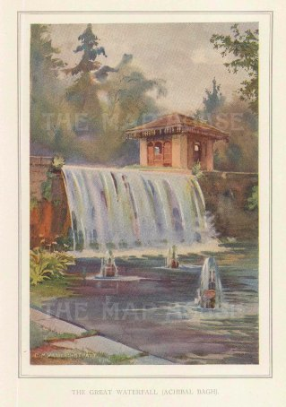 Achibal Bagh. The great waterfall in the palace grounds. Villiers-Stuart resided in India and was a Fellow of the Royal Horticultural Society and the Institute of Landscape Architects.