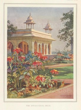 Diwan-I-Khas: Hall of Private Audiences at the Red Fort, Delhi. Villiers Stuart resided in India and was a Fellow of the Royal Horticultural Society and the Institute of Landscape Architects.