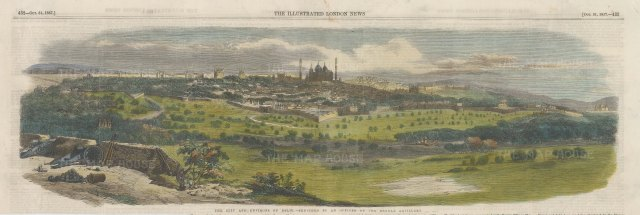 Delhi: Panoramic view of the city and its environs. After a sketch by an officer of the Bengal Artillery.