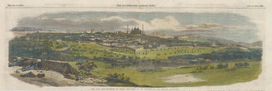 Panoramic view of the city and its environs. After a sketch by an officer of the Bengal Artillery.