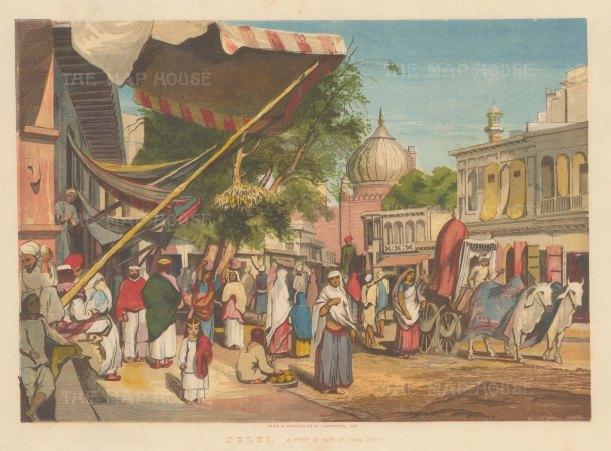 Delhi: Street behind Masijid i Jahan Muma (Jama Masjid).