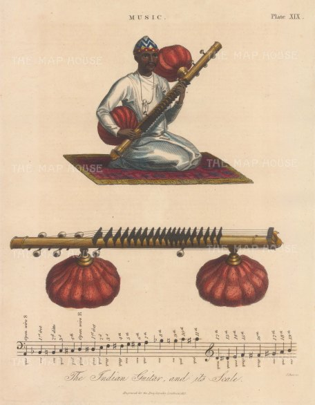 """Wilkes: Indian Guitar. 1819. An original hand coloured antique copper engraving. 8"""" x 11"""". [INDp1512]"""