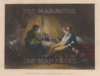"""Grieg: Interior of a Sportsman's tent. c1830. A hand coloured original antique steel engraving. 6"""" x 4"""". [INDp1538]"""