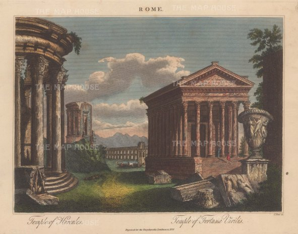 Temple of Herucles and Temple of Fortuna Viirilis: Engraved by John Pass.