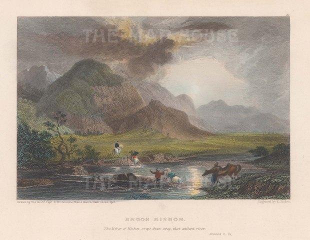 Men on horseback crossing river.