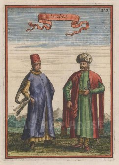 "Mallet: Traditional dress. 1683. A hand coloured original antique copper engraving. 4"" x 6"". [MEASTp1221]"