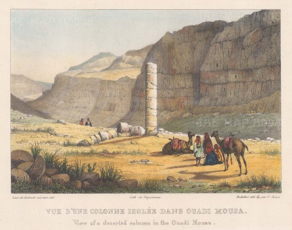 Jordan: Ouadi Mousa. View of a deserted column with camels and people in the foreground.