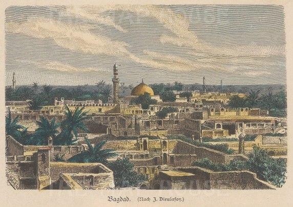 "Geiltbeck: Baghdad, Iraq. 1897. A hand coloured original antique wood engraving. 5"" x 4"". [MEASTp1275]"